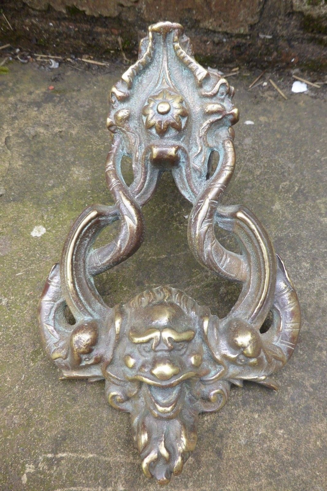 Art nouveau reclaimed brass door knocker gargoyle face u fish