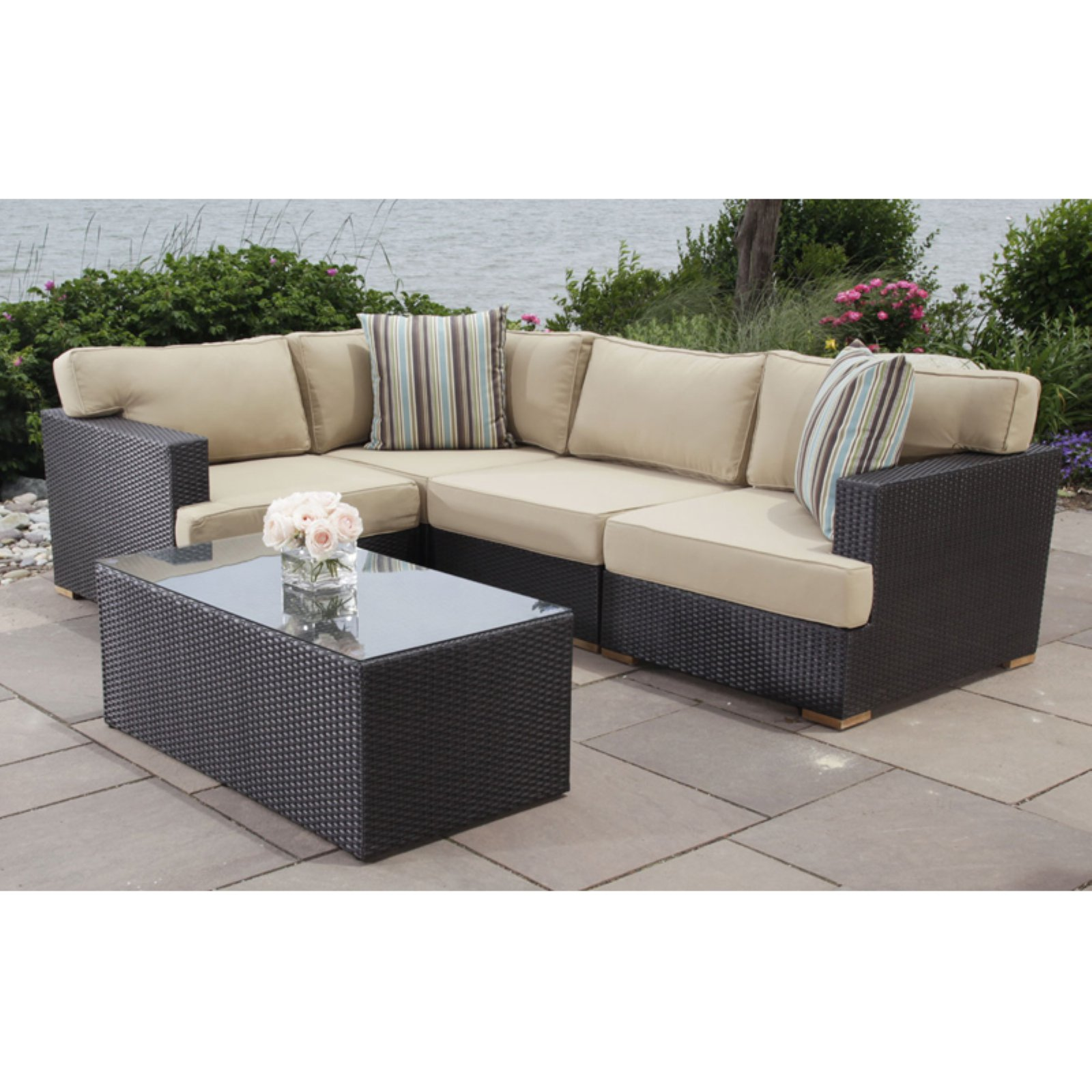Outdoor Madbury Road Salina All Weather Wicker Patio Sectional Conversation Set
