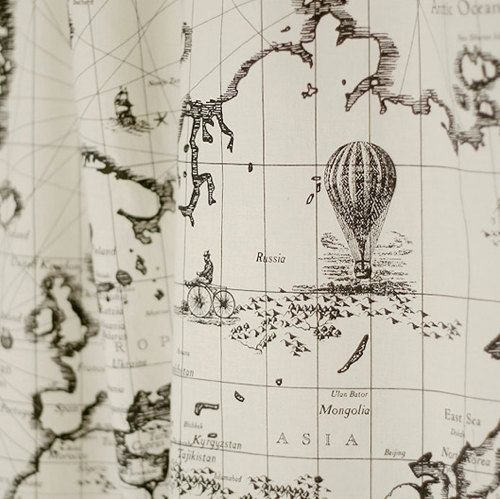 Map of the world antique cotton illust cut 1590 via etsy itsy explore map fabric linen fabric and more map of the world antique cotton gumiabroncs Gallery