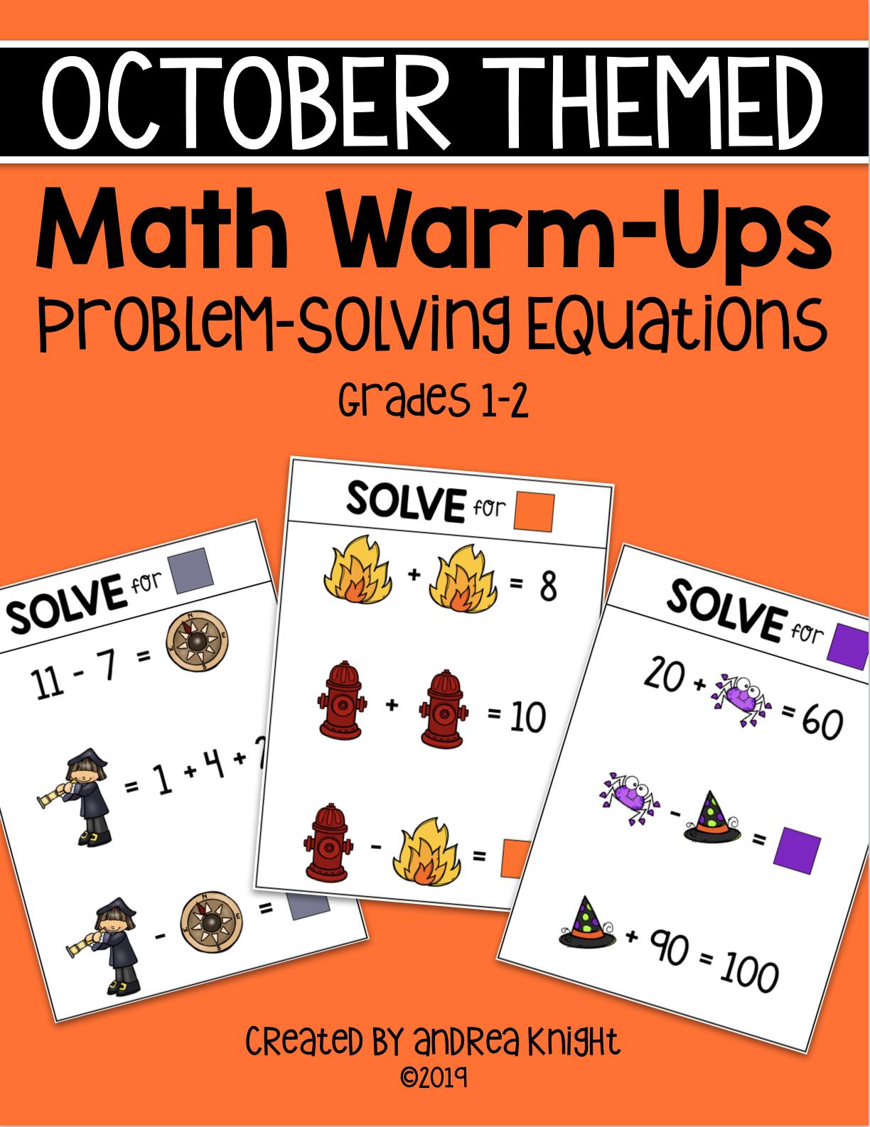 October Themed Math Warm Ups Problem Solving Missing