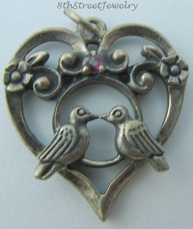 Franklin Mint 1981 Sterling Silver 925 Lovebirds W Ruby