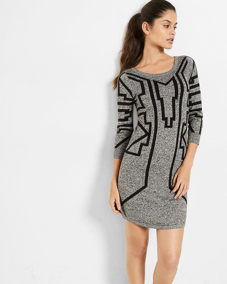 marled printed sweater dress Express