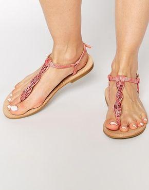 0b57d6cf0bde Truffle Collection Diamante Toe Post Flat Sandals 20.50