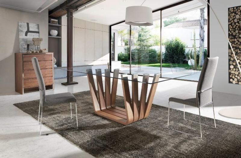 Arena, Modern Glass Top Dining Table With A Walnut Veneer Finish Base/3  Sizes