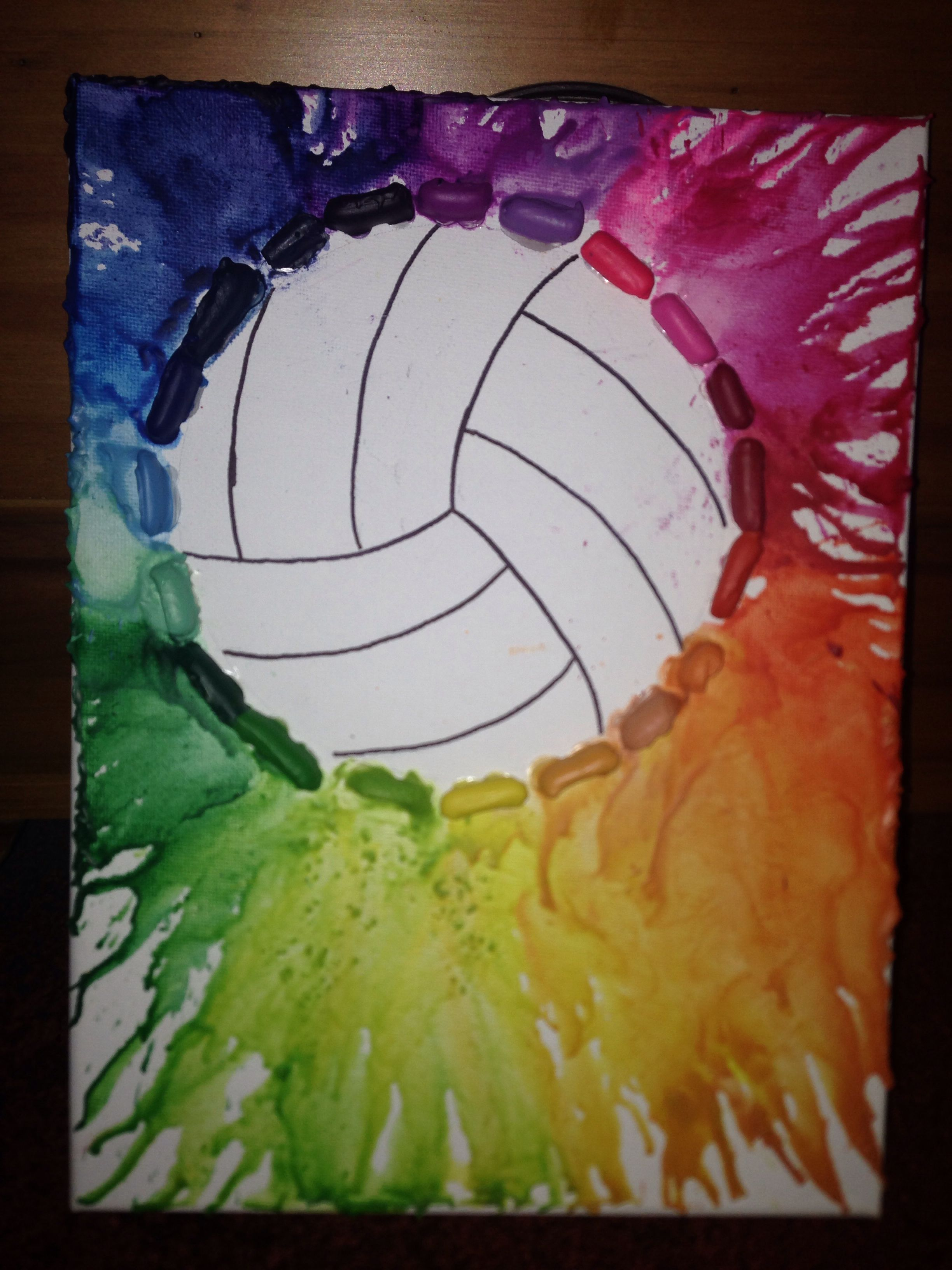 Diy Volleyball Crayon Art Sport Volleyball Volleyball Crafts Volleyball Coach Gifts