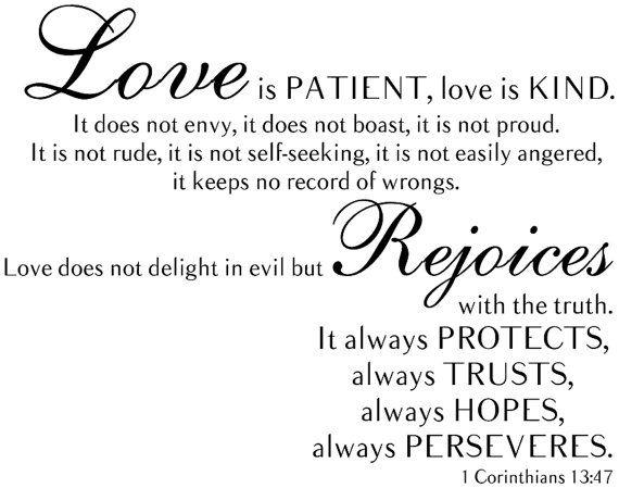 1 Corinthians 13 47 Love Is Patient Love Is Kind Bible Wall Decal Love Is Patient Bible Wall Decals Soulmate Love Quotes