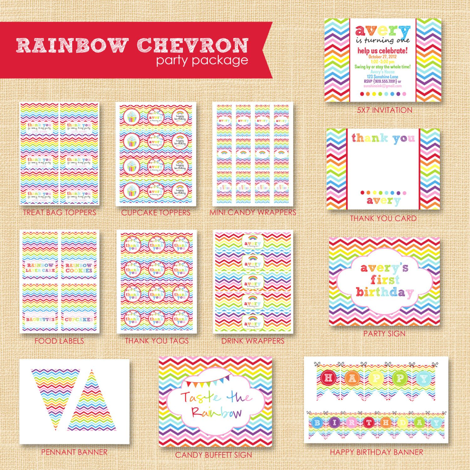 Rainbow Chevron Birthday Party Custom Printable Collection by ...