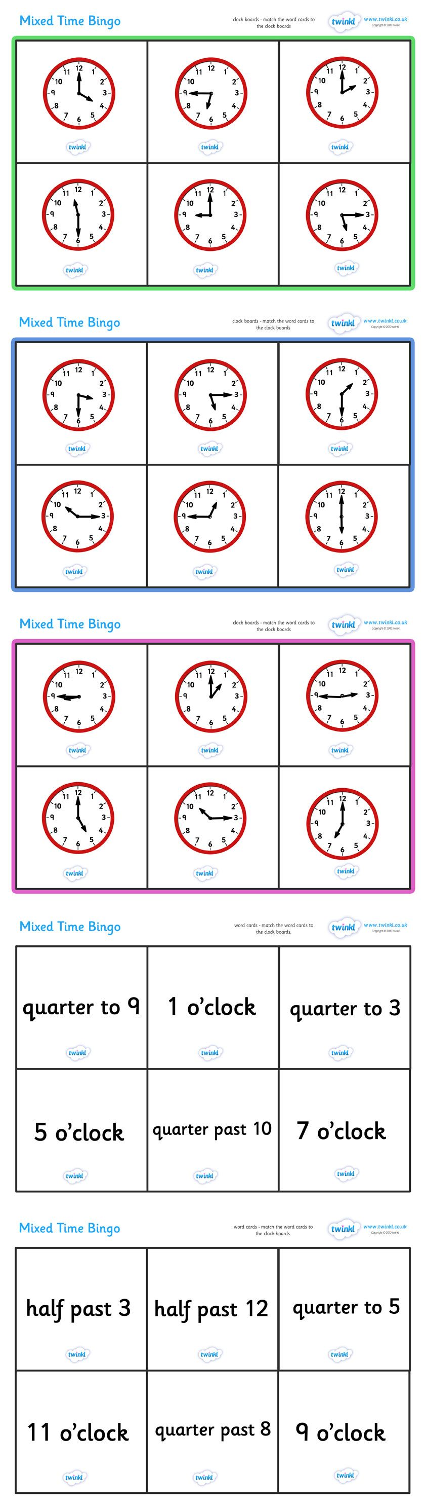 Mixed Time Bingo Pop Over To Our Site At Twinkl And