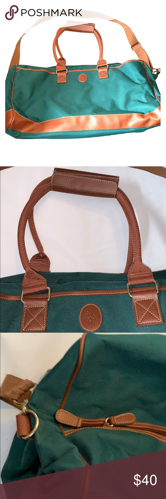 686e0666f19 Vintage POLO Green   brown duffle bag 💯 Auth Polo Ralph Lauren Green  Canvas Leather Overnight