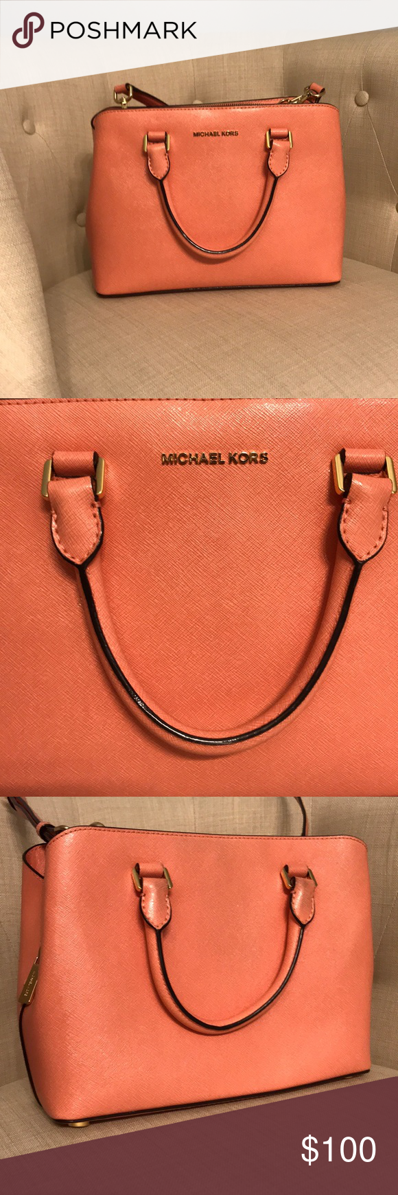 bf215abe4b8 Peach color-great used condition! Slight marks on handle from wear—see  pics. Perfect for SPRING🌼🌸 Michael Kors Bags Satchels