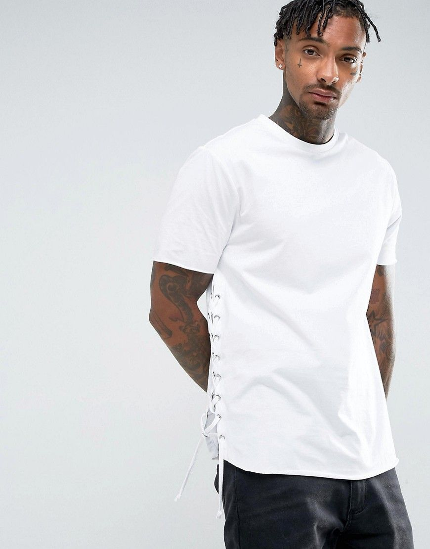 c53bc3e0e2ba8 ASOS Longline T-Shirt With Curved Hem And Eyelet Side Seam - White ...