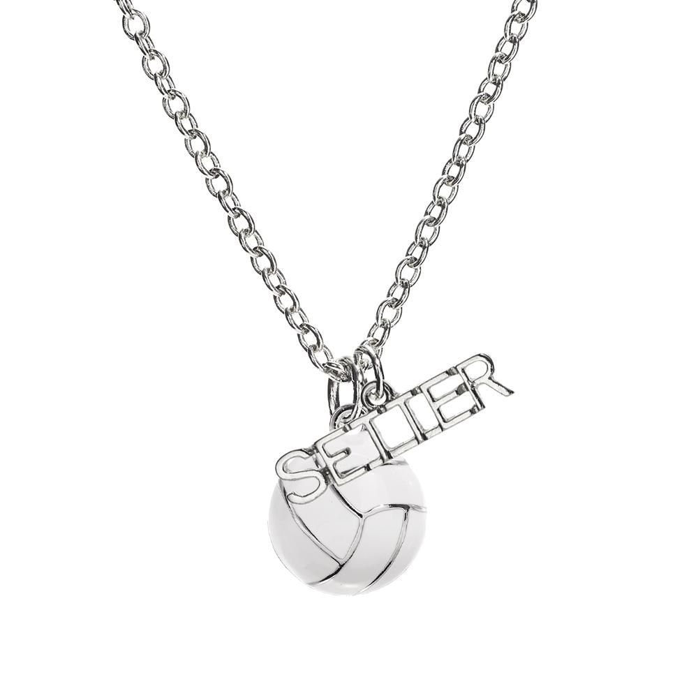 Volleyball Setter Enamel Necklace Volleyball Setter Volleyball Necklace Mens Silver Necklace