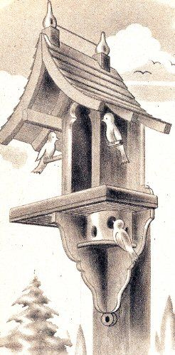 Woodworking Craft Plan Pattern to make - Bird House Backyard Feeding Station Birdhouse. NOT a finished item. This is a pattern and/or instructions to make the item only. $8.99