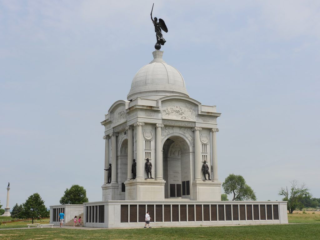 At 110 feet tall, the Pennsylvania State Memorial is the largest monument at the Gettysburg battlefield.