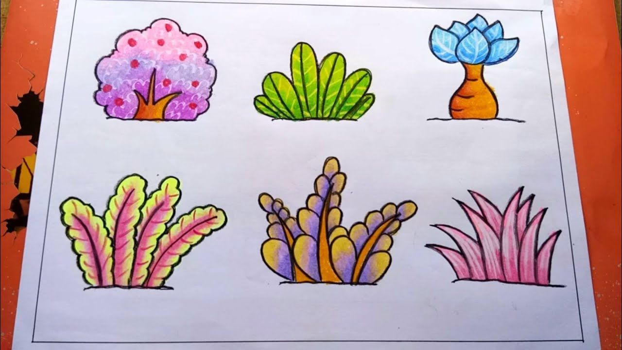 Cara Mewarnai Tanaman Bunga Dan Rumput Dengan Gradasi