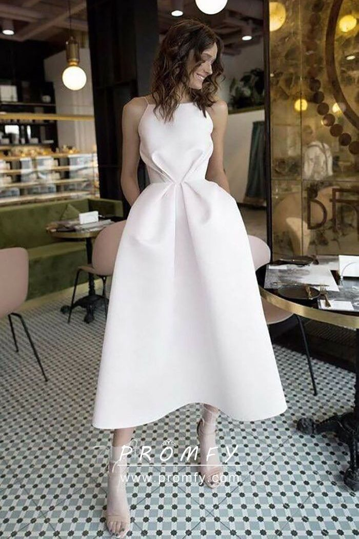 Chic White Tea Length Open Back Pockets Party Dress Prom Dresses With Pockets Straps Prom Dresses White Prom Dress