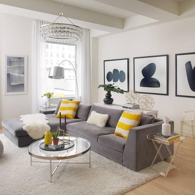 Black white and yellow home decor living room for Living room yellow accents