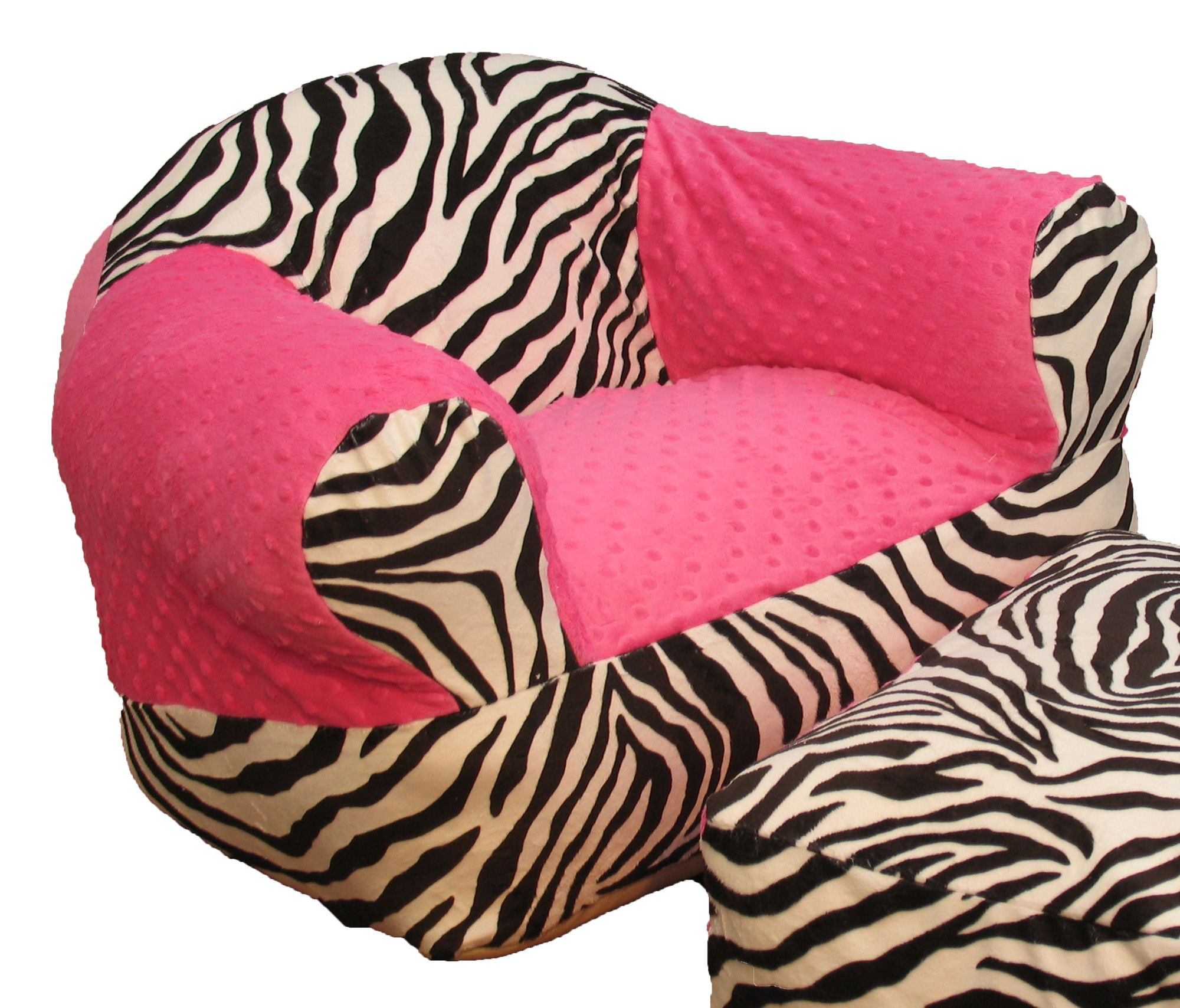 Hot Pink Zebra Kids Club Chair