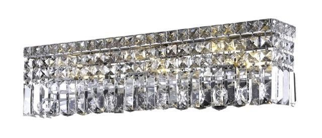 """Chantal - Wall Sconce (6 Light Contemporary Crystal Vanity Fixture) - 1728W26  ➤ Dimensions: L 26"""" x W/D 0"""" x H 6.25"""" Ext. 4.5"""""""