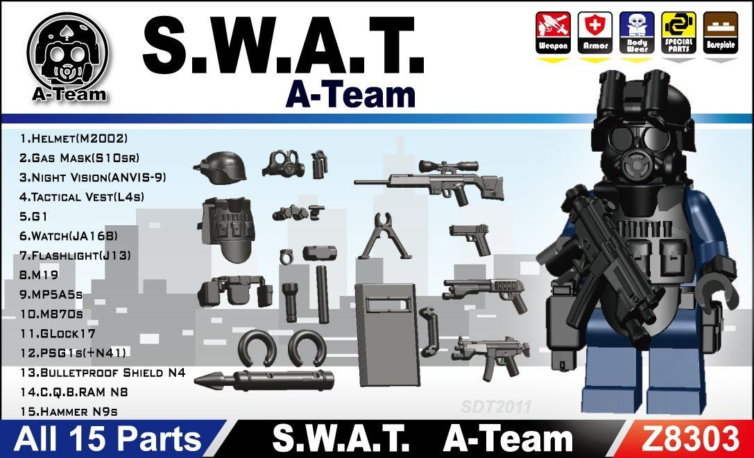 Amazon.com: SWAT Team Gear Pack in Black (15 Pieces) - LEGO ...