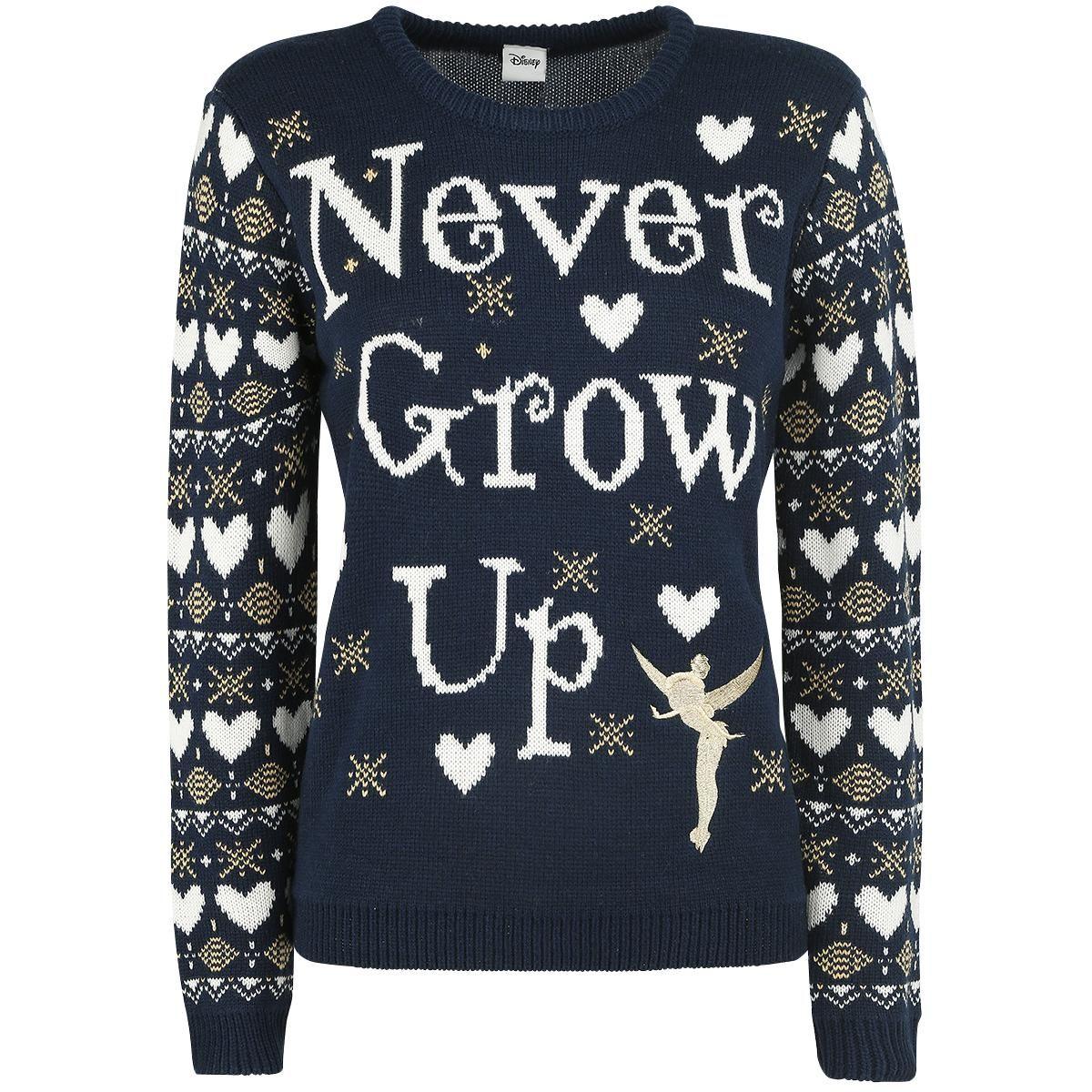 Disney Kersttrui.Tinkerbell Never Grow Up Christmas Sweater Weihnachtspullover