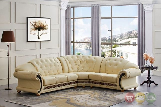 Versace Cleopatra Cream Italian Top Grain Leather Beige Right Chaise Sectional Sofa Sectional Sofa Beige Esf Furniture Leather Sectional Sofas