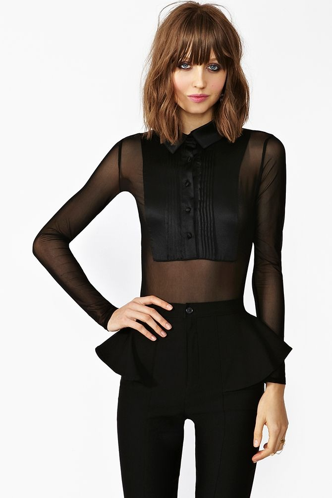 4a3b868062 Showtime Silk Bodysuit a peplum mesh tuxedo shirt