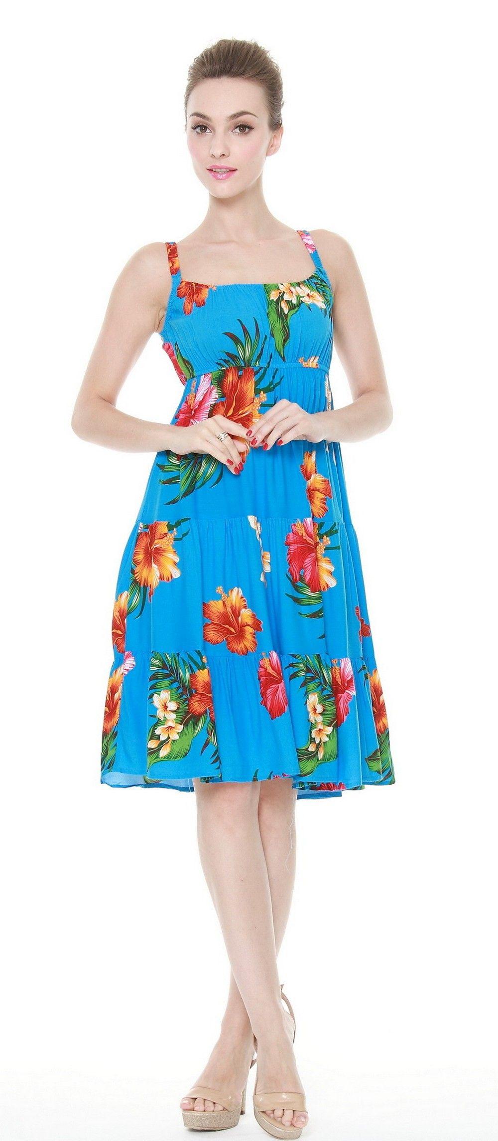 Triple Tier Flowy Luau Dress in Turquoise Floral | Luau dress ...