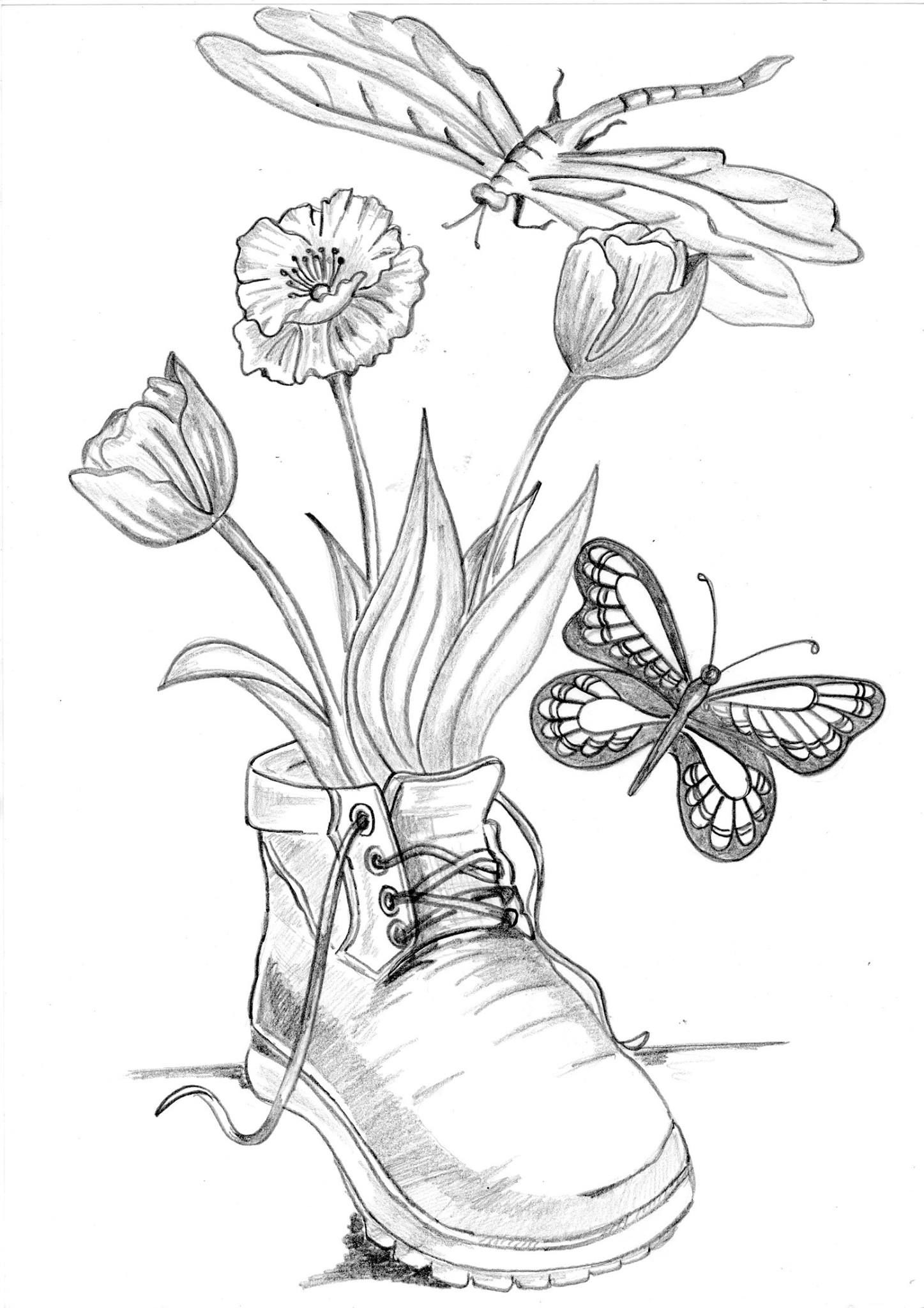 Flowers in a boot with butterfly and dragonfly Coloring