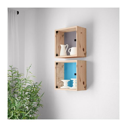 Bathroom Kitchen Nornas Glass Door Wall Cabinet Pine Gray Blue