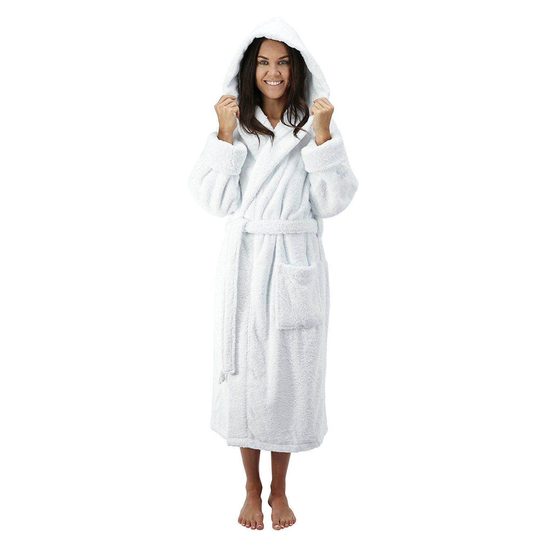 57924ab779 Turkish Cotton Hooded Bathrobe L XL OSFM White. Made of a premium 20 oz.  cotton