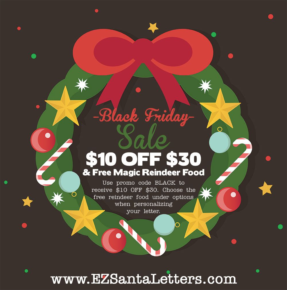 Happy holidays today were celebrating black friday with a 10 off get your free magic reindeer food when personalizing your letter from santa spiritdancerdesigns Image collections