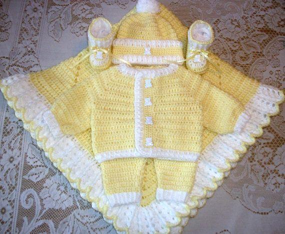 498e731b0687 Baby Boy Yellow Crochet Layette Sweater Set Outfit