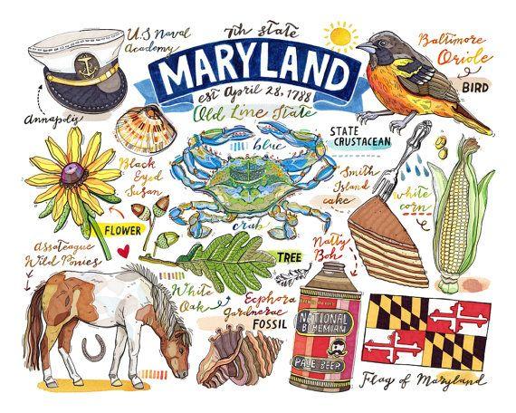 Maryland Print State Symbols Illustration Old Line State Home