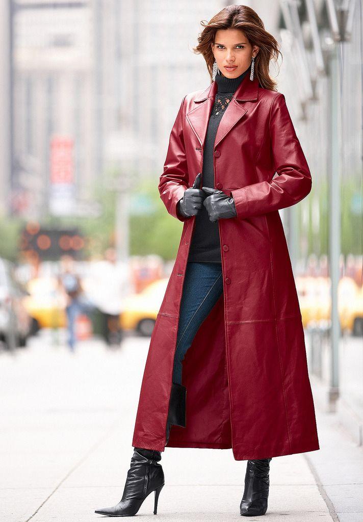 Womens Jacket Windbreaker Full Length hot Trench Long Lapel Leather Coat OutweaR