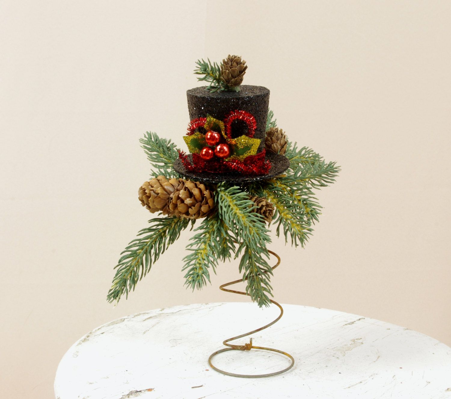 Top Hat Christmas Decor Black Top Hat Tree Topper Holiday Decor
