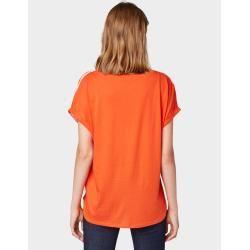 Tom Tailor Damen T-Shirt im Material-Mix, orange, gestreift, Gr.L Tom TailorTom Tailor #shouldertops