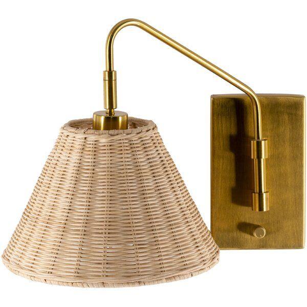 Leadington 1 Light Gold Armed Sconce Rattan Shades Wall Sconces Sconces