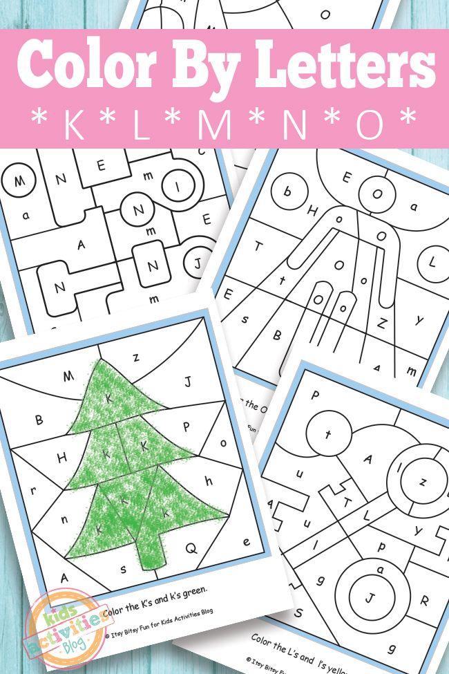 Color By Letters K L M N O Free Kids Printable – Color by Letter Worksheets for Kindergarten