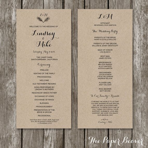 Printable Wedding Program - Rustic Kraft Wedding Welcome Program ...
