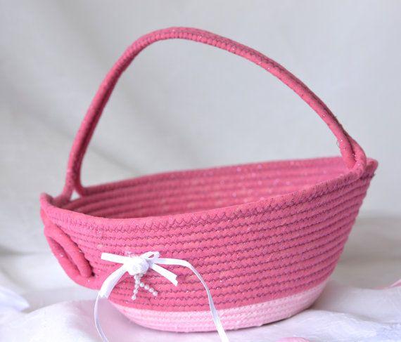 Flower Girl Basket Handmade Pink Wedding Card By WexfordTreasures