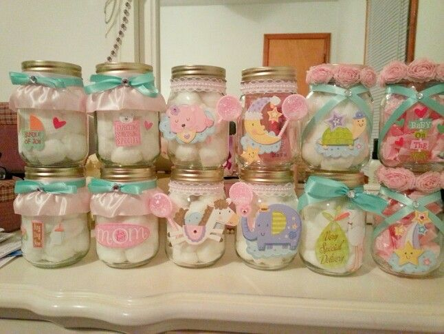 Mason Jars Decorated For A Baby Shower Mason Jar Baby Shower Mason Jar Decorations Baby Shower Gifts For Guests