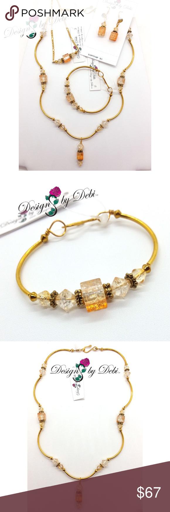 Iced tea crackle glass gold piece jewelry set iced tea crackle