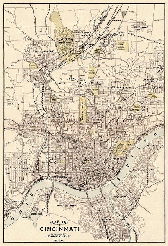 Cincinnati map - Old map of Cincinnati - fine reproduction - Old ...