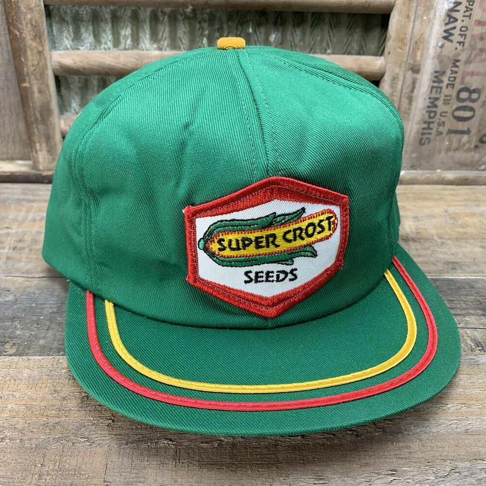 online retailer 5a975 a3be0 Vintage SUPER CROST SEEDS Trucker Hat Cap Patch Mesh Made In USA K Products   fashion