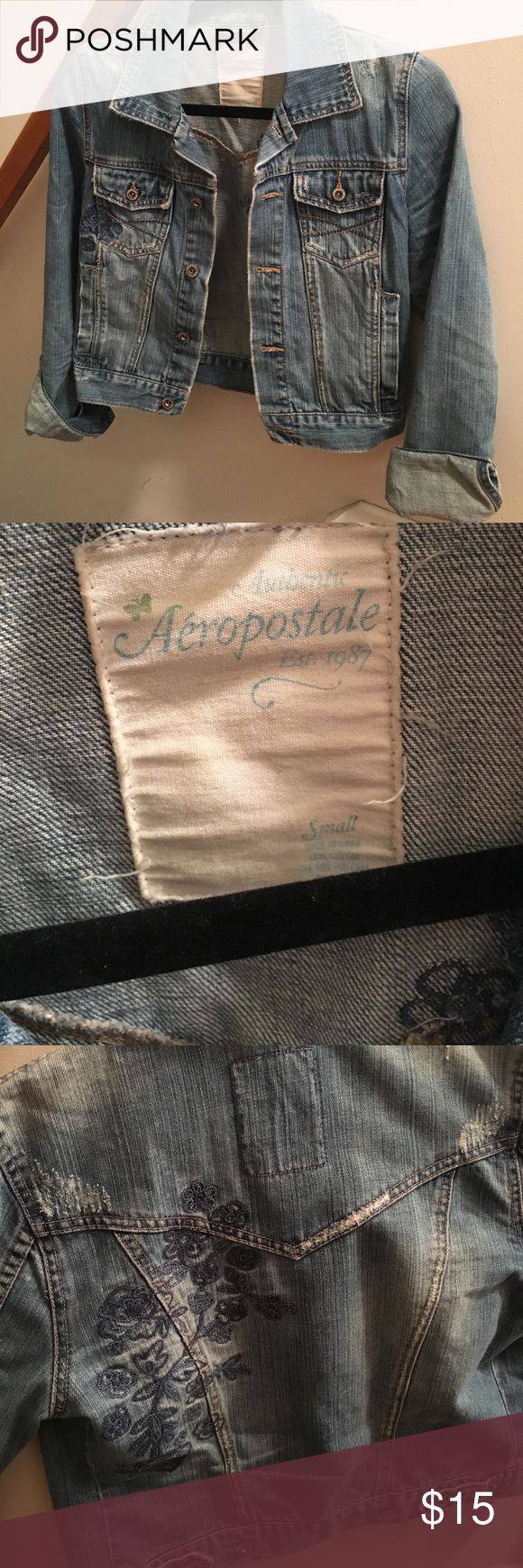 Aeropostale distressed blue jean jacket This blue jean jacket is the perfect accessory for any outfit! It is distressed with a flower design on parts of the front and back. It is a shorter length jacket that will go perfect with a tank and jeans or skirt. Aeropostale Jackets & Coats Jean Jackets