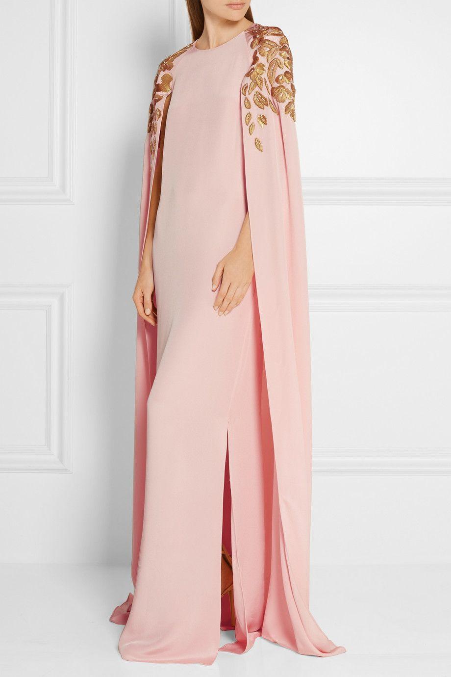 Oscar de la Renta   Cape-effect embellished silk-crepe gown   NET-A ...