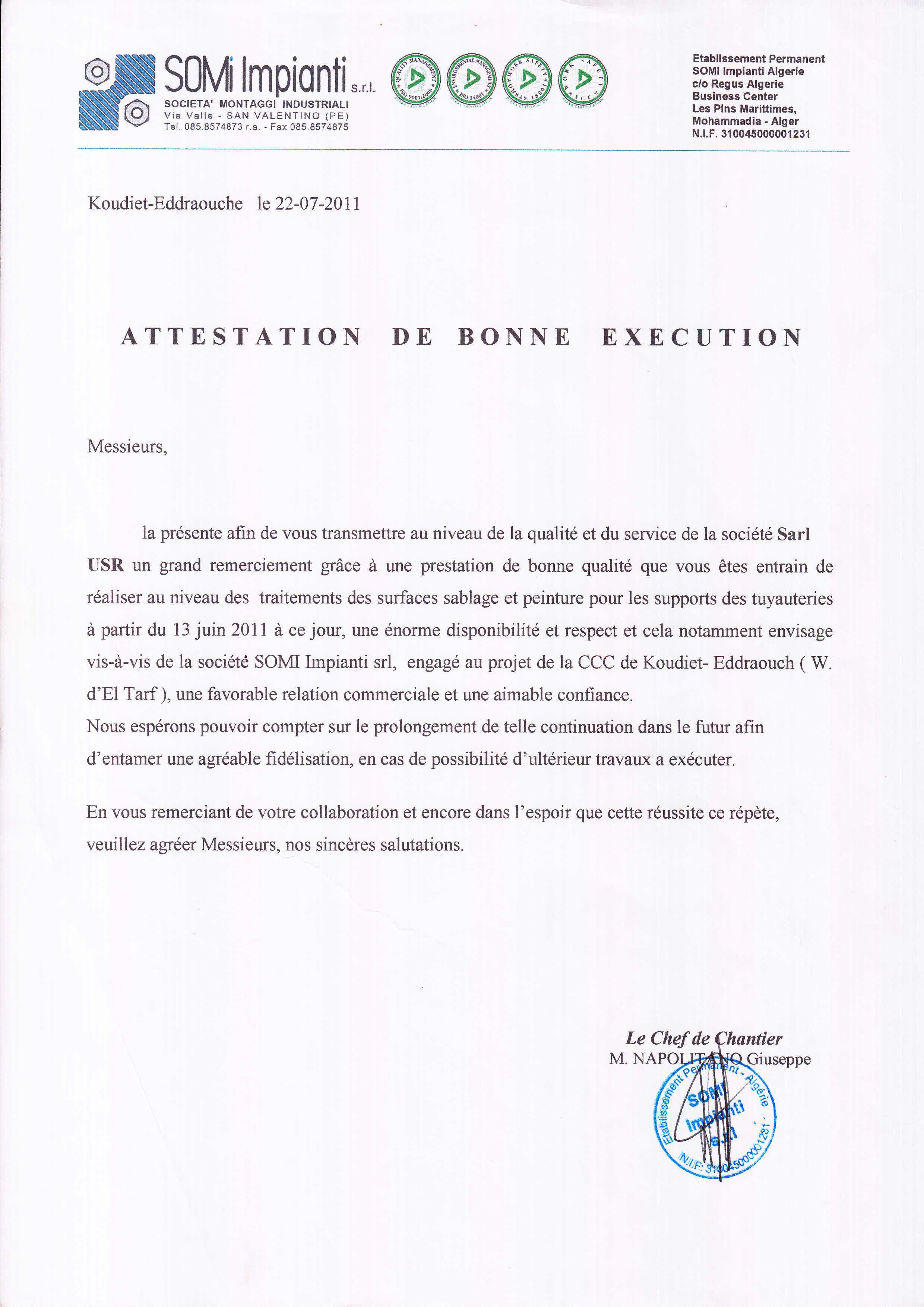 Attestation De Bonne Execution Marches Publics Attestation Execution Modele Attestation