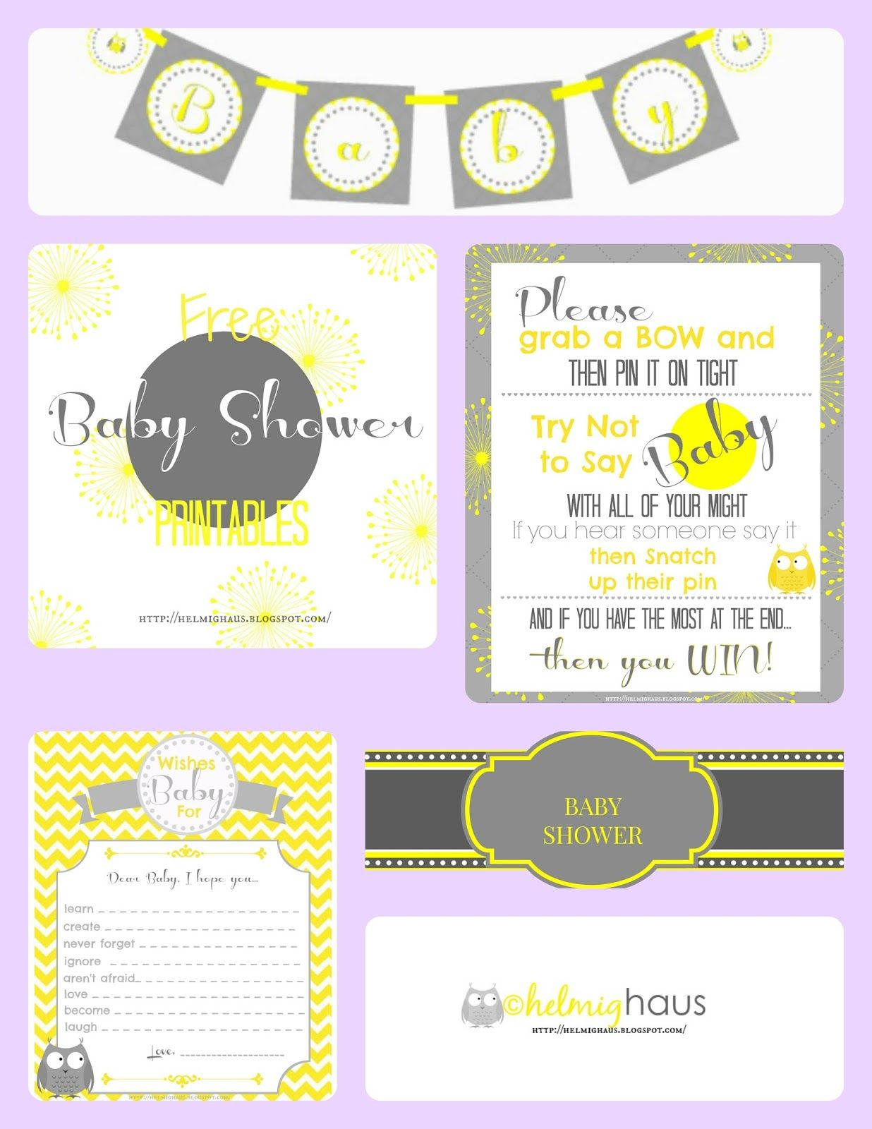 Free Baby Shower Printables banner games & labels Gray