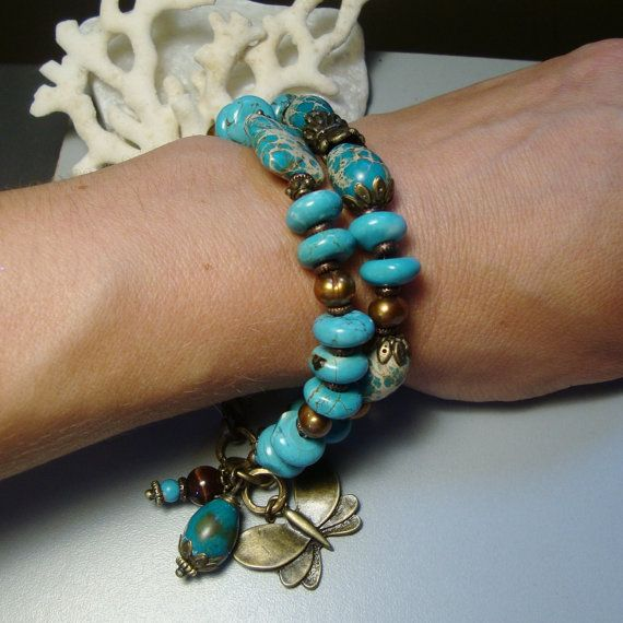 Charm Bracelet with Natural Turguoise Magnesite and by nina68